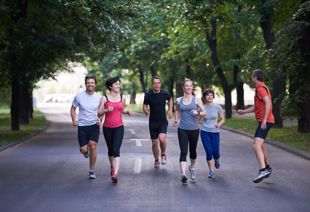 people group jogging, runners team on morning  training-1